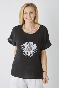 Linen Top w/ Sequin Flower
