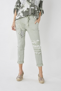 Pants w/ Lace and Sequin Star
