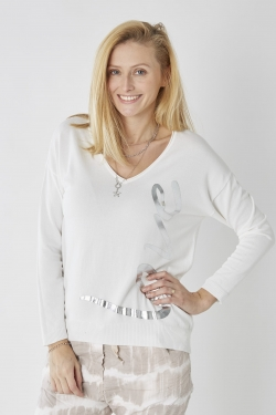 Silver 'Love' Sweater