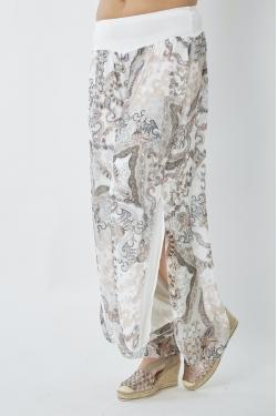 Silk Paisley Pants, Split...