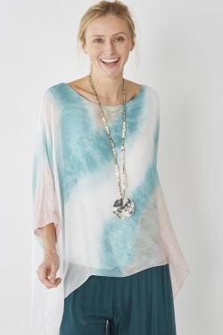 Wide Sleeve Silk Printed...