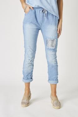 Sequin Patch Jean