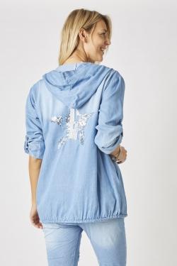 Sequin Star Jean Jacket