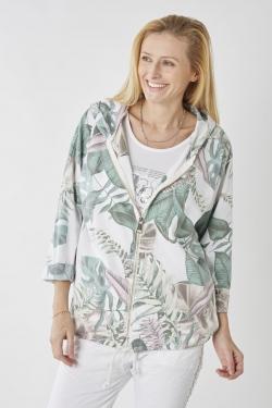 Floral Hoodie Zip Up Jacket