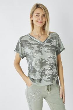Camo Shirt w/ Sequin Neckline
