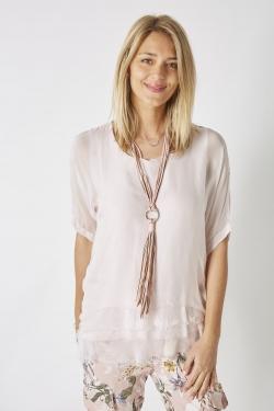 Short Sleeve Silk Blouse