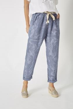 Swirl Print Linen Pant