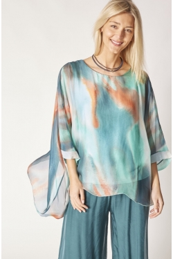 New Abstract Print Silk Blouse