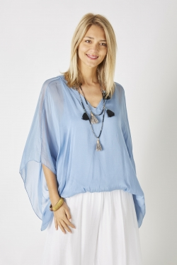 Solid Color Blouse w/...